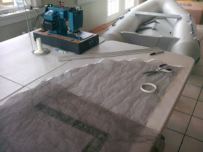 Photo: I used basting tape to join the screen sections prior to sewing