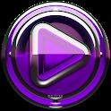 Poweramp skin Purple Glas luxe icon