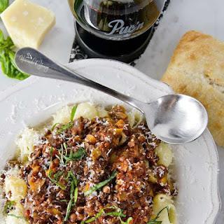 Spicy Beluga Lentil Pasta Sauce with Mushrooms and Wine.