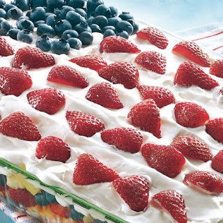 Layered Fruit Flag Salad.