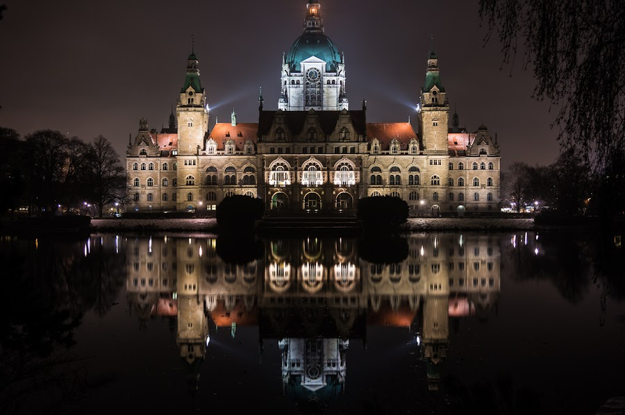 reflecting on politics by Carsten Senkfeil - Buildings & Architecture Public & Historical ( hannover, deutschland, reflection, town hall, townhall, hanover, germany, night, rathaus )