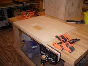 "Photo: Roughed out the hole for the router before the two pieces of 3/4"" mdf were glued together."