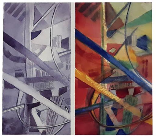 Jeanne PAPA_STAGE Vers une aquarelle abstraite _2019_ travail de Guylène