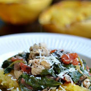Chicken Spinach Mushroom Spaghetti Squash.