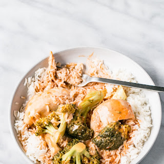 Slow Cooker Thai Tomato Chicken and Broccoli.