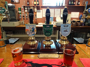 Photo: Elgood's produces a range of seasonal real ales with names based on animals and movies. On the left is the pump-clip for the delicious Easy Spider.