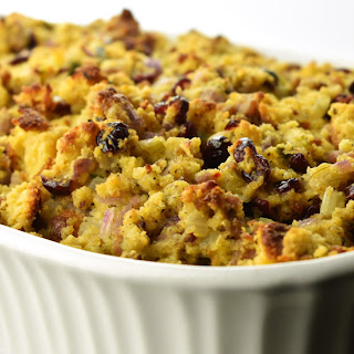 Jalapeno Cornbread Stuffing with Sausage and Dried Cranberries.