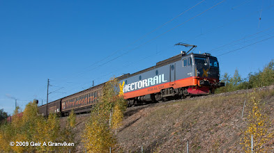 Photo: Hector Rail freight train, pulled by a Class 161 locomotive, an extremely powerful electric type which earlier served as an NSB EL15, hauling heavy ore trains  between Kiruna and Narvik