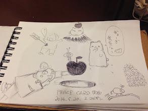 Photo: 交流会二次会「ス マガザン」にて 楽描きをリレーで描く余興Part2