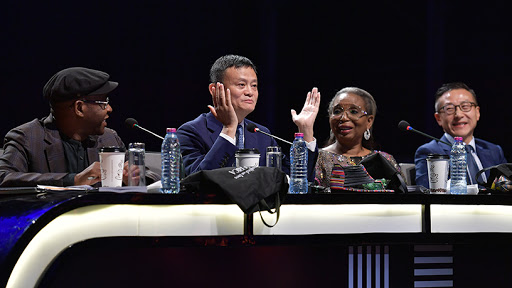 Competition judges, Strive Masiyiwa, founder and executive chairman of Econet Group; Jack Ma, founder of Alibaba; Ibukun Awosika, chairman of First Bank of Nigeria; and Joe Tsai, executive vice-chairman of Alibaba.