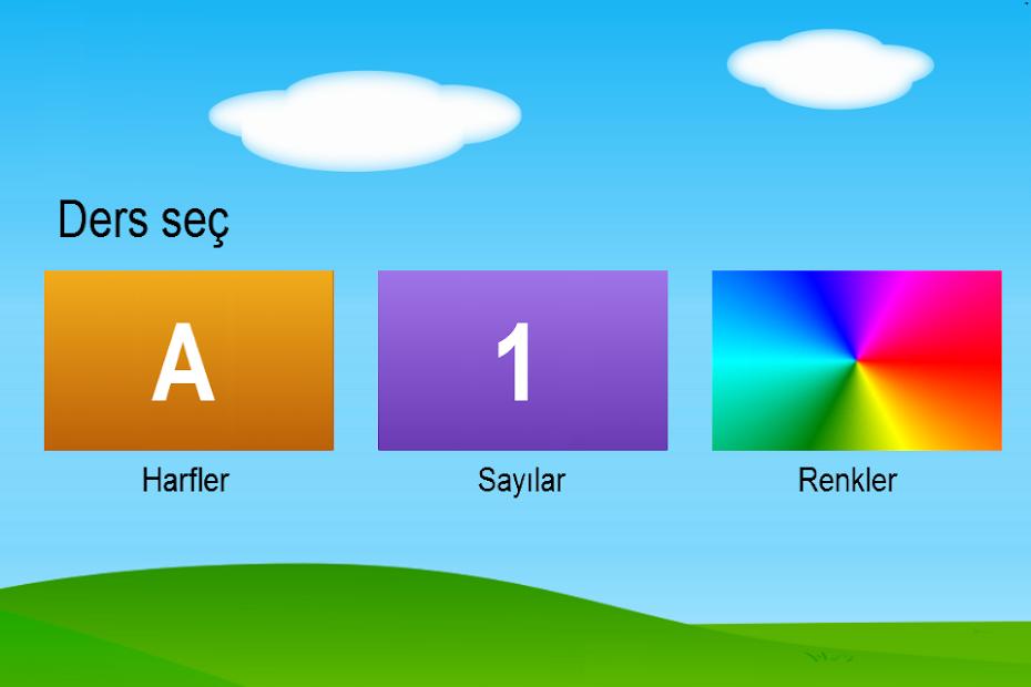 Türkçe Harfler Sayılar Renkler Android App Screenshot