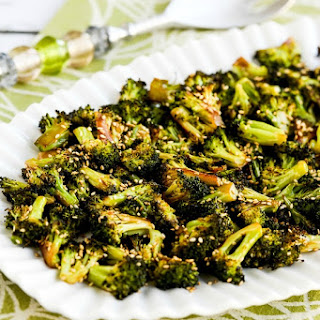 Quick Roasted Broccoli with Soy Sauce and Sesame Seeds.