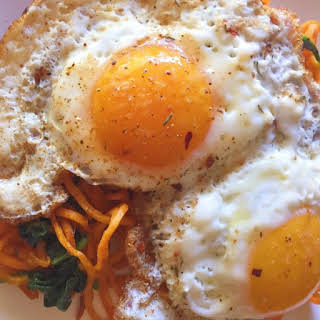 Sweet Potato Noodles + Spinach and Fried Eggs.