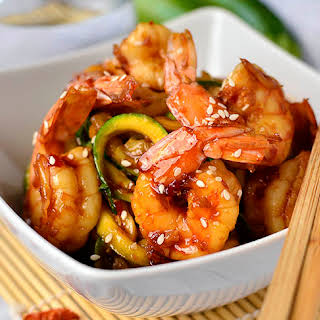 Sweet Chili Sesame Shrimp and Zoodles.