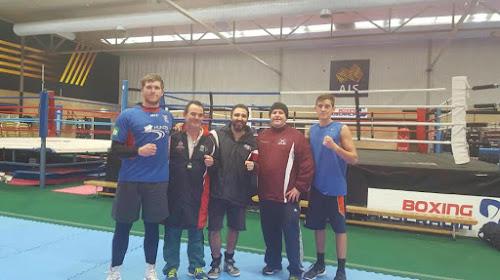 Brendan Davey, Australian coach Don Abnett, Nazmi Afacan, Phil Goodes and Shannan Davey at the AIS training camp.