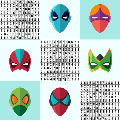 Superhero Stickers Mask Color By Number Book Page Google Play De