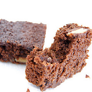 Dark Chocolate Brownies with Marzipan