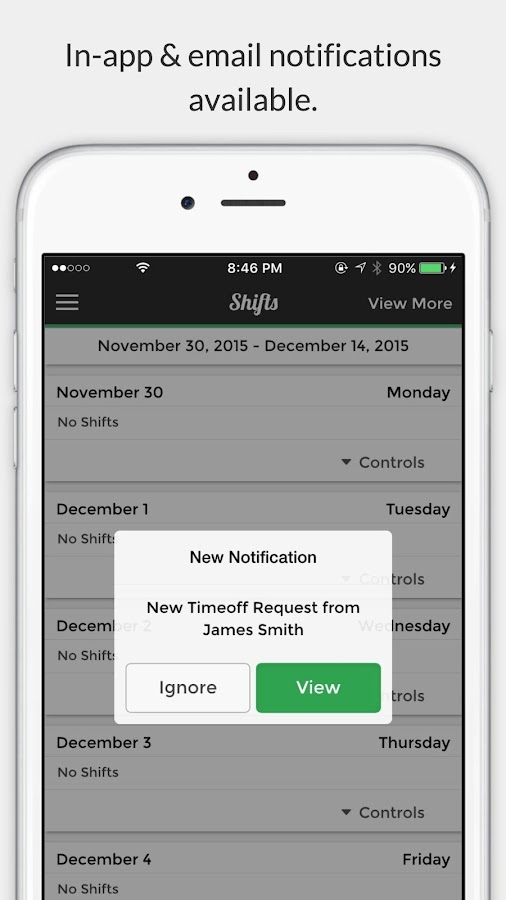 Shift Status- screenshot