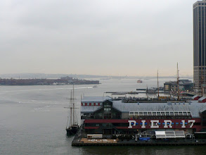 Photo: Pier 17, another three-masted sailing vessel, and Ellis Island behind them to the left.  http://www.aviewoncities.com/nyc/ellisisland.htm http://en.wikipedia.org/wiki/Ellis_Island