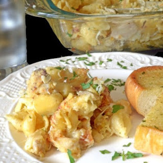 Crispy Chicken Leftovers & Shells Casserole.