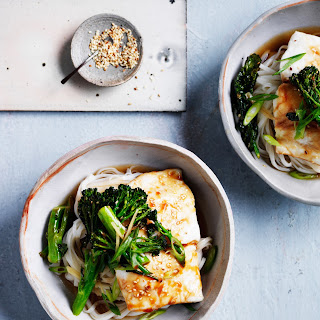 Roast Fish with Soy, Noodles and Broccolini Recipe