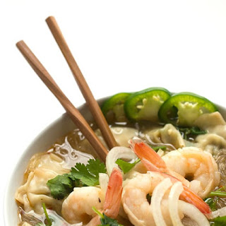 Asian Noodle Soup with Shrimp and Wontons.