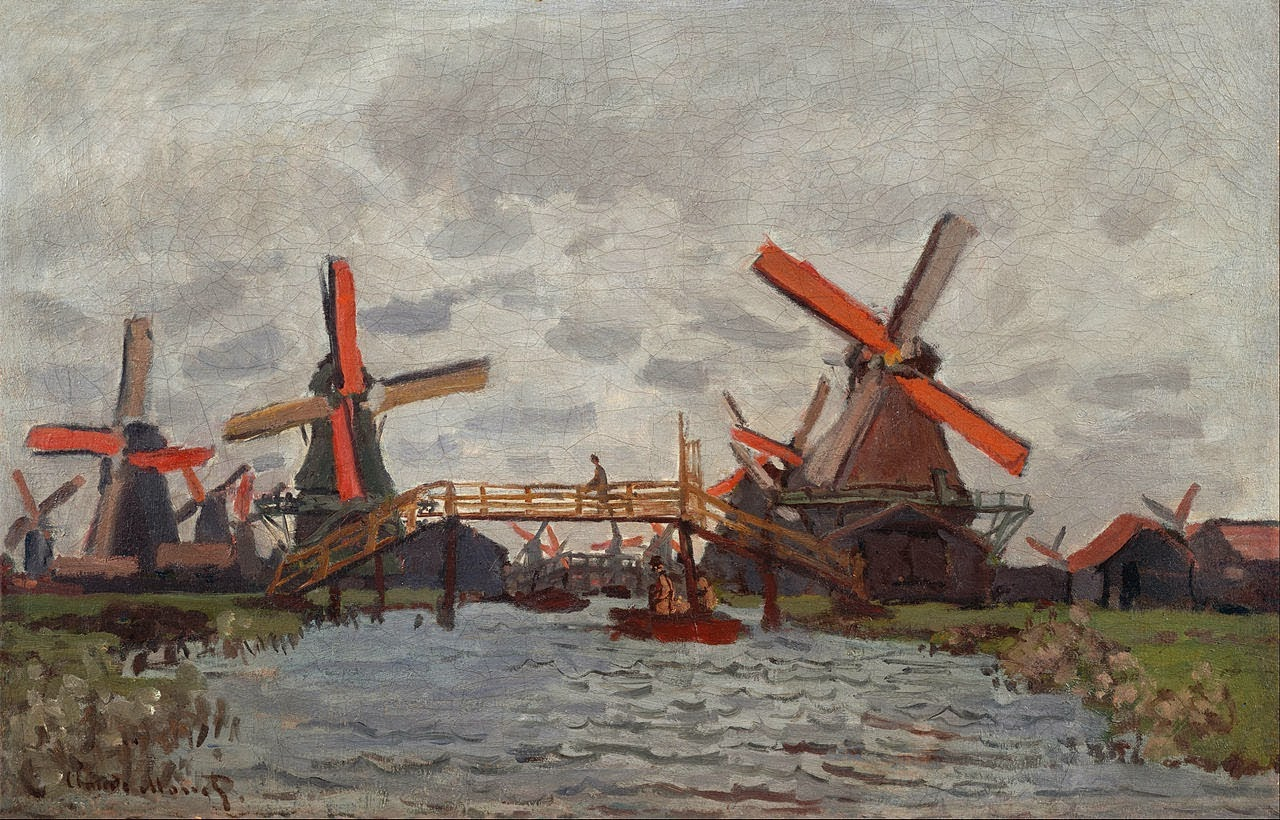 Mills in the Westzijderveld near Zaandam by Claude Monet 1871.