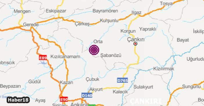 Çankırı orta İlçesi Ortabayındır köyü deprem