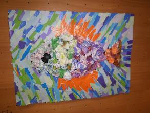 Photo: Riba - kolaž i strukturirani gužvani papir - zajednički rad