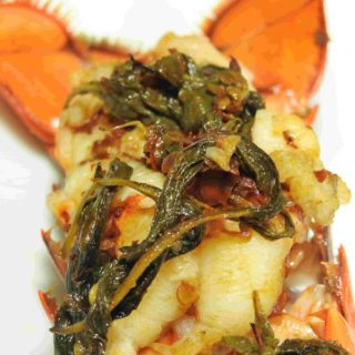 3 Ingredient Lobster Tail with Thai Holy Basil Chili and Butter.