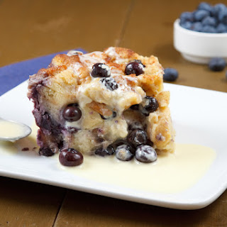 Blueberry Bread Pudding with Creme Anglaise