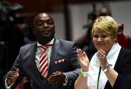 City of Tshwane mayor Solly Msimanga with Marietha Aucamp.