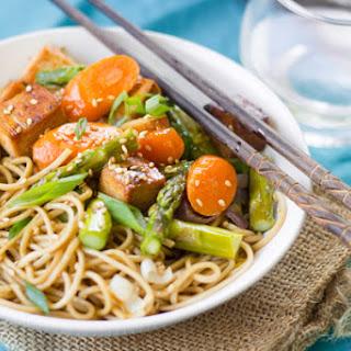 Sesame Soba Noodle Bowls with Roasted Veggies & Baked Tofu
