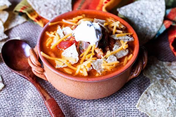 Best Chicken Tortilla Soup With Garnish.