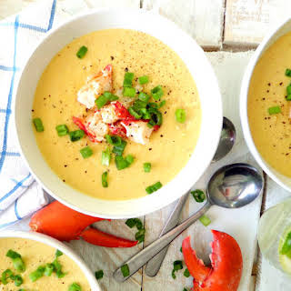 Sweet Corn Soup with Lobster.