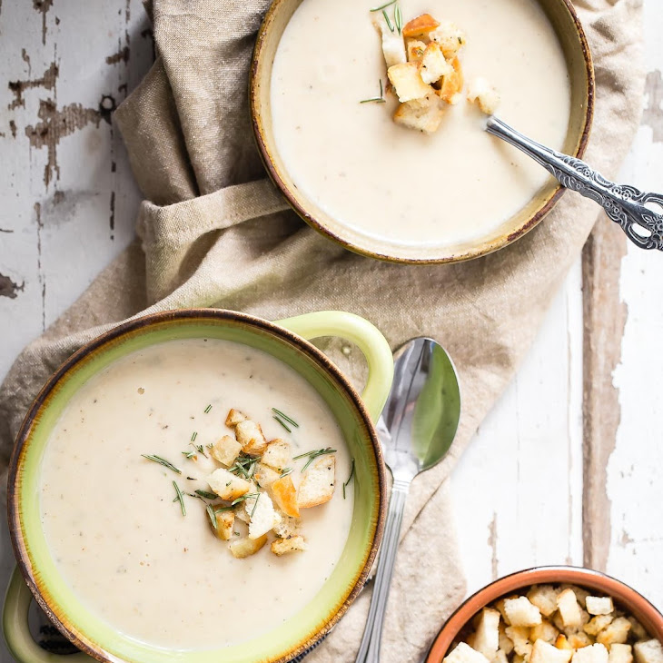 Roasted Parsnip and Cauliflower Soup with Buttered Croutons Recipe