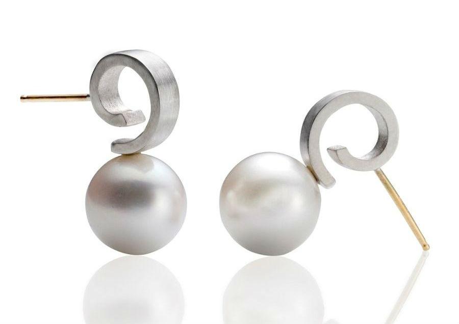 Pearl Post Earrings by Martha Seely Design
