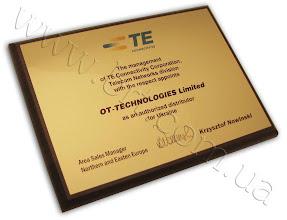 Photo: Сертификат дистрибьютора TE Connectivity (производитель оборудования для вычислительных сетей)