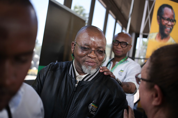 ANC secretary-general Gwede Mantashe and national spokesperson Zizi Kodwa leave a press conference at Nasrec, Johannesburg, where he announced that all delegates from nullified branches would not be allowed to vote at the ANC's 54th national elective conference.