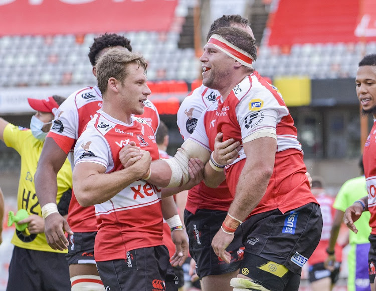 Willem Alberts and Tiaan Swanepoel of Golden Lions celebrating their try during the Carling Currie Cup match between Toyota Cheetahs and Xerox Golden Lions XV at Toyota Stadium on December 12, 2020 in Bloemfontein, South Africa.