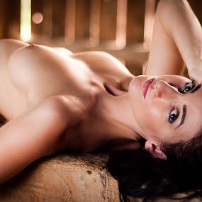 On a Beam by James Baker - Nudes & Boudoir Boudoir ( breast, farm, sexy, model, topless, nude, barn, kallia, 825555, nipple, brunette, eyes,  )