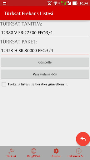 Turksat Frequency List screenshot 16