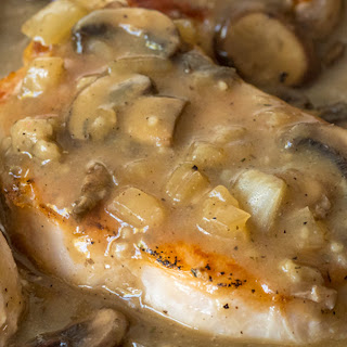 Skillet Pork Chops With Mushroom Gravy.