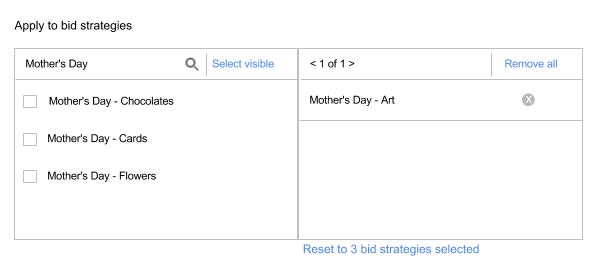 Apply to bid strategies section of Events. List of available bid strategies on left. List of selected bid strategies on right.