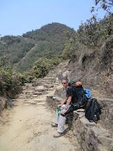 Photo: Lyngve in the last uphill to the Lapchu Danda pass (2420m)
