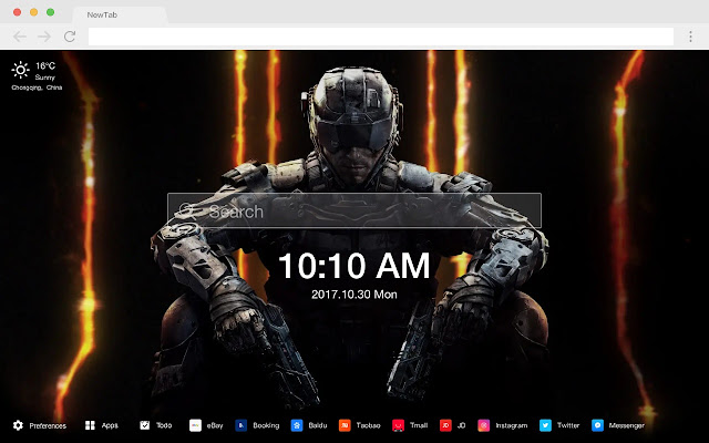 Black action pop game HD new tab page theme