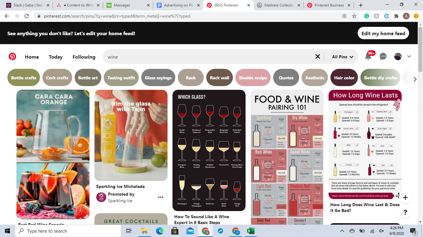 Check out the search terms when advertising on Pinterest