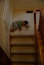 Photo: Brendan fell asleep on the stairs. This never happens.