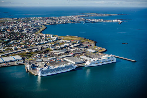 Cruise ships face off in Skarfabakki Harbour in Reykjavik, capital of Iceland.