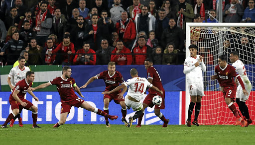 Balletic effort: Sevilla's Guido Pizarro, No14, scores their third goal and equaliser in stoppage time. Picture: REUTERS